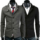 2016 Fashion Mens Premium Pea Coat Trendy Jacket Blazer Long Coat Black / Grey