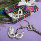 6 X Mardi Gras Mask Silver Keyring Keychain Wedding & Party Bag Filler Favours