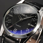 2 Colors AgentX Stainless Steel Case Leather Band Date Quartz  Wrist Men's Watch