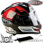 VIPER RSV8 STEREO PRIME BLACK/RED MOTORCYCLE HELMET BUILT IN SPEAKERS