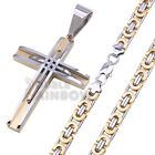 2P2 men's stainless steel Gold/Silver Tone cross pendant box chain necklace