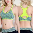 Women Fitness Yoga Stretch Workout Tank Top Seamless Racerback Padded Sports Bra