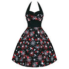 Gothic Victorian Steampunk Vintage 50s Halloween Spider Web Halter Dress