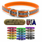 """Hunting Dog Reflective Name Collar 3/4"""" D Ring & Custom Brass Tag ID Plate"""