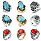 Men's Stainless Steel Fashion CZ Agate Stone Rings Gentleman Vintage Jewelry Hot