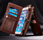 Genuine Leather Removable Detachable Wallet Card Zipper Case Cover For iPhone