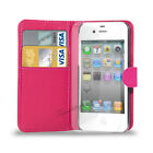 APPLE iPHONE 4/4S/4G  - NEW PU LEATHER WALLET BOOK CASE COVER POUCH