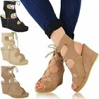 New Womens Ladies Platforms Lace Up Wedges Low Heel Sandals Gladiator Shoes Size