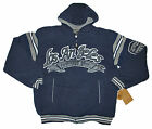 Mens Heavy Weight Zipper Front Fleece Hoodies Los Angeles Logo Navy Brand NEW