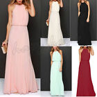 Womens Formal Long Chiffon Prom Evening Party Bridesmaid Wedding Maxi Dress Pink