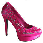 New Hot pink Fuchsia rhinestone High Heel Platform Pump women shoes all sizes