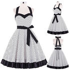 Vintage Polka Dot Swing 50s 60s Pinup Housewife Cocktail Party Evening Dress New