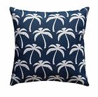 Palms Navy Decorative Outdoor Pillow, Navy Palm Trees Tropical Accent Pillow