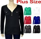 Plus Size Solid V-Neck Long Sleeve Button Front Detail w/ Pocket Top 1X 2X 3X