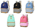 Women Matching Canvas Satchel School Bags Stripe Print Outdoor Handbag Backpack