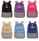 Girls Women Polka Dots Checks Print Backpack Tote Canvas GYM Travel Rucksack Bag