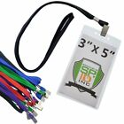 10 Pack- 3X5 Inch Large Credential & Badge Holders with Lanyards for VIP Passes