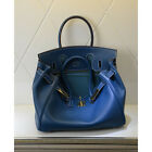 NEW Milan Soft Jean Blue Italian Leather Tote Handbag (GHW) 30CM 35CM