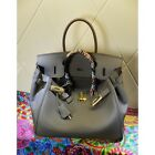 NEW Milan Soft Iron Gray Italian Leather Tote Handbag (GHW) 30CM 35CM