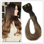 BALAYAGE OMBRE CLIP IN REMY HUMAN HAIR EXTENSIONS DARKEST BROWN HOT NEW HAIR