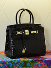 NEW Milan Black Crocodile Effect Italian Leather Tote Handbag (GHW) 30CM 35CM