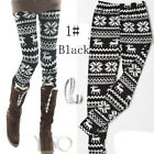 AU SELLER Black Nordic Reindeer Snowflake Leggings Slim Stretch Pants p001-1
