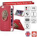 Snake Skin PU Leather 3D Lion Head Hybrid Hard Back Cover Case For iPhone 6 7