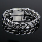 Mens Chain Gold Silver Tone Stainless Steel Carved Curb Link Bracelet 11mm Hot