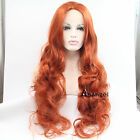 Heat Resistant Wavy Synthetic Lace Front Wigs Copper Red Long Hair Full Wig