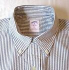Men's Brooks Brothers Blue & White Seer Sucker Shirt New w/out tags