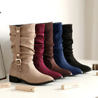 Womens Buckles Mid-calf Boots Pleated Suede Slouch Winter Flat Snow Boot Shoe SZ