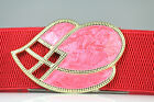 Vintage Style Pink & Red Enamel Buckle Red Elastic belt S/M & M/L