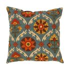 Mayan Medallion Adobe Throw Pillow, Orange, Rust, Gold, Tan, Teal Floral Pillow
