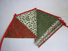 Hand Made 10ft 13 Flag or 6ft 10 Flag Christmas Fabric Bunting Garland (holly)