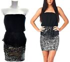 Strapless Sequins Skirt 2-Fer Party Dress S M L