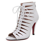 Womens Caged Cut Out Gladiator Strappy High Heels PU-Leather T-Strap Sandals