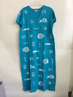 "M.Mac's ""Rock Fish"" V -Neck Ankle Length Dress: Turquoise w White - Assorted!"