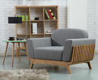Noah Timber Armchair - Solid Oak - Light Grey Fabric + Wood