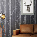 White Birch Tree On Dark Grey Background Peel & Stick Wallpaper wall decal