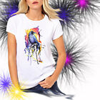 Ladies T-shirt Rainbow Raven Watercolor Crow Bird Art Sizes XS-2X