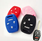 FIT FOR HONDA ACCORD CIVIC KEYLESS SILICONE CAR KEY FOB COVER CASE 4 BUTTON