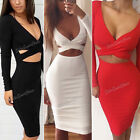 WOMENS Sexy bandage Bodycon Long Sleeve slim Ladies party Cocktail Pencil Dress