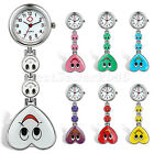 Smiling Face Heart Shaped Clip On Fob Brooch Pendant Nurse Hanging Pocket Watch