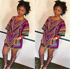 Women African Dashiki Shirt Dress Boho Hippe Gypsy Festival Tops Party Hippe New