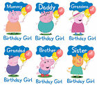 PEPPA PIG FAMILY BIRTHDAY IRON ON TSHIRT TRANSFERS PERSONALISED  LOT PT
