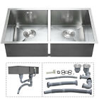 Handmade 304 Stainless Steel Kitchen Sink Grid Farmhouse Undermount Top Mount