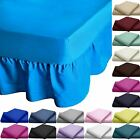 LUXURY VALANCE BED SHEETS DYED POLY COTTON PLATFORM BASE BOX PLEATED FRILL COVER