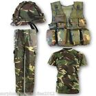 BOYS ARMY OUTFIT KIDS TROUSERS T-SHIRT VEST HELMET DPM CAMO SOLDIER FANCY DRESS