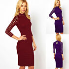 Sexy Women Hollow Front Wiggle Dresses Slim Fit Strip Evening Party Pencil Dress