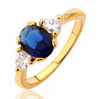 Yellow Gold Filled Sea Blue Cubic Zirconia Trilogy Costume Ring - Jewellery
